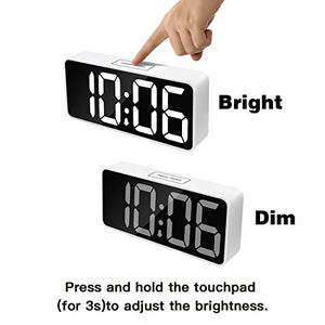 Large LED Digital Alarm Clock 9 Inch w/ USB Port Charger Snooze & Dimmer White