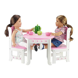 18 Inch Doll Furniture | Lovely Pink and White Table and 2 Chair Dining Set with