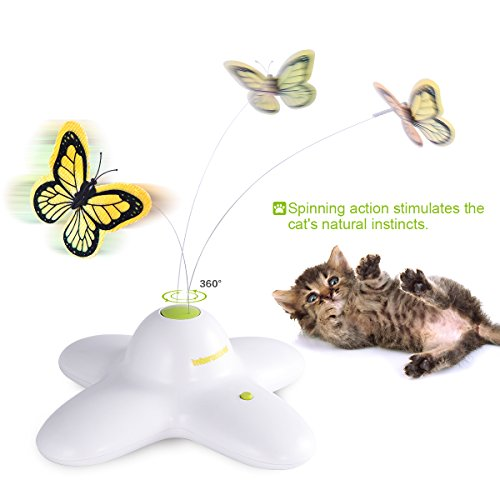 AFP Butterfly Interactive Cat Toy, Electric Rotating Cat Toy, Flashing Teaser Toy for Kitten Cat, with Replacement Butterfly