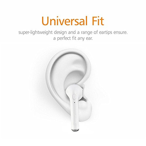 Wireless Bluetooth Single Earbud Stereo Headphone w/ Noise Cancelling Microphone