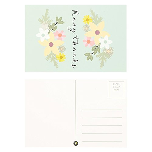 72-Pack Thank You Postcards Bulk - Floral Festival Thank You Note Cards Set, 6 4