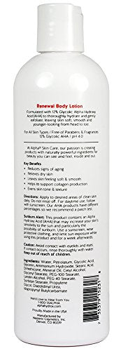 Alpha Skin Care - Renewal Body Lotion, 12% Glycolic AHA, Supports Healthy Radian