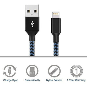 Apple Lightning Cable DeFitch 4 Packs: 3FTx1 + 6FTx2 + 10FTx1 Nylon Extend USB X