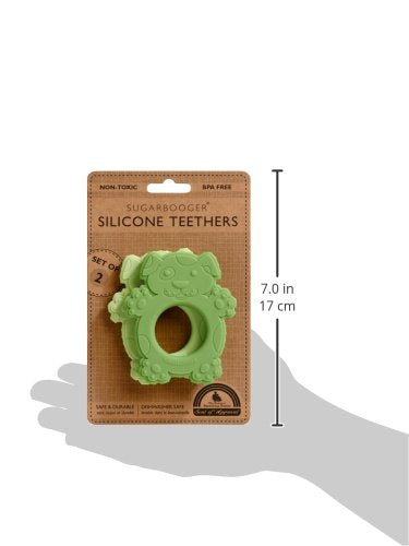 Sugarbooger Silicone Teether Set-of-Two, Scruffy Dog