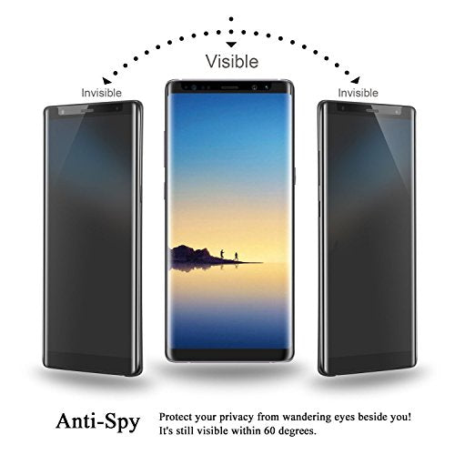 For Galaxy Note 8 Privacy Tempered Glass Screen protector, 9H Hardness [Case Fri