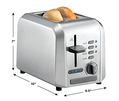 Chefman 2-Slice Stainless Steel Wide Slot Toaster Defrost w/ 5 Shade Settings