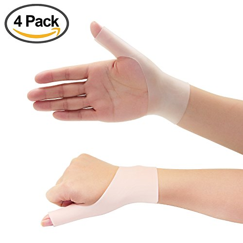 4 Piece Gel Thumb Brace Wrist Support Braces for Right & Lift Hand Relieve Wrist