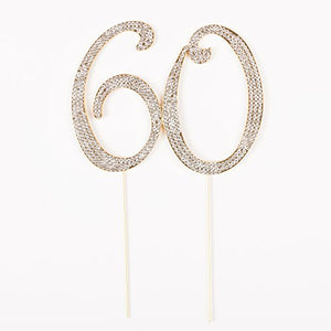 60 Cake Topper for 60th Birthday or Anniversary Gold Party Supplies & Decoration Ideas (Gold)