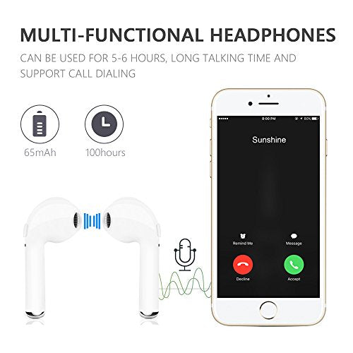 Bluetooth Earbuds, Koharu Wireless Headphones Headsets Stereo In-Ear Earpieces Earphones for Apple Airpods iPhone 7/ 7 Plus/ 6/ 6s Plus (white)