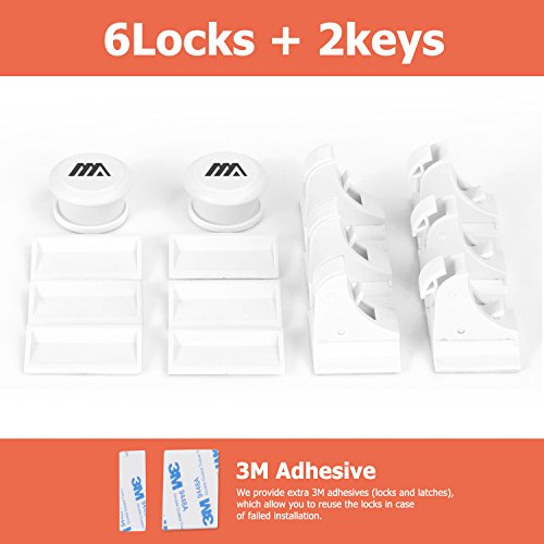 Adoric Updated 6-Pack Magnetic Baby Safety Locks with 2 Keys, Child Proof & Kits