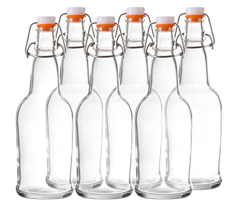 Swing Top Grolsch Clear Glass Bottles for Brewing Kombucha Kefir Beer 16oz 6 Set
