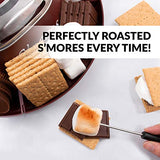 Nostalgia SMM200 Indoor Electric Stainless Steel S'mores Maker with 4 Compartment Trays for Graham Crackers, Chocolate, Marshmallows and 2 Roasting Forks, Brown