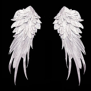 1Pair White Embroidered Angel Wings 10.6x5.1 inch White-Small