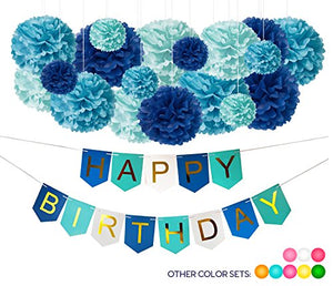 19 DIY Birthday Party Decorations: 18 Blue Tissue Paper Pom Pom Flowers Balls + 1 Happy Bday Banner Sign. Women Men Boys Girls Kids. Turquoise Royal Sky Gold. Shark Snowman Princess Paris Theme