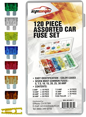 120 Pieces - EPAuto Assorted Car Truck Standard Blade Fuse Set 5 / 7.5 / 10 / 1