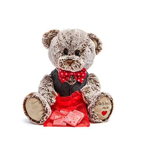 Godiva Chocolatier Valentine's Day 2018 Limited Edition Plush Teddy Bear with Chocolate carres