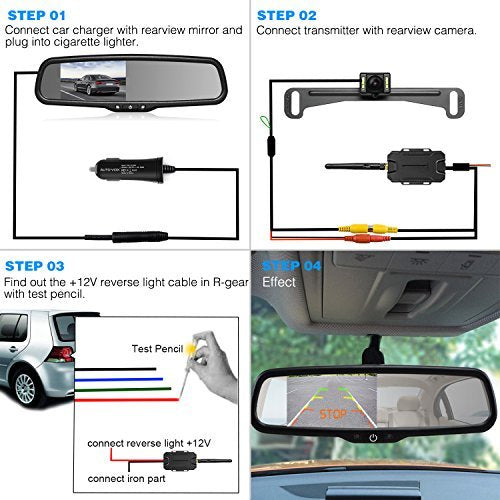AUTO VOX Wireless Reverse Camera Kit Car Backup Camera with Rear View Mirror Mon