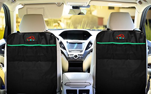 2 Pack - EPAuto Car Backseat Kick Mats for Seat Back Protectors w/ Storage Pocke