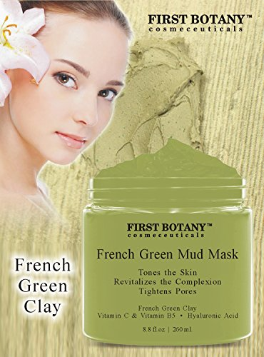 French Green Mud Mask 8.8 fl oz for men and women - an anti aging face mask, and