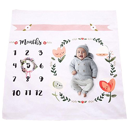 Baby Monthly Milestone Blanket | Cotton Swaddle Throw For Infant & Babies 0-3 ,