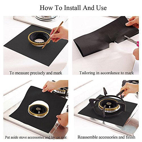 Reusable Gas Stove Burner Covers[8 Pack]-Heat Resistant Gas Range Covers - Safe