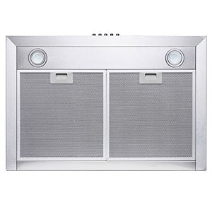 "Perfetto Kitchen and Bath 30"" Wall Mount Stainless Steel Push Panel Kitchen Hood"