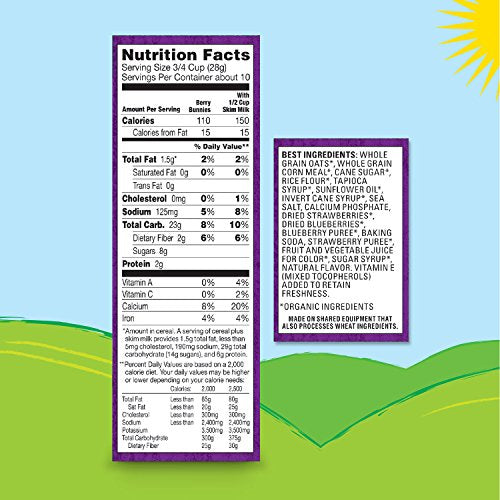 Annie's Organic Cereal, Berry Bunnies, Oat, Corn, Rice Cereal, 10.8 oz (Pack of 10)