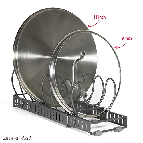 BTH NEW Expandable Pot Lid Organizer Rack: Stores 8+ Lids, Can Be Extended to 8
