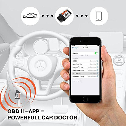 OBD2 Scanner NEW 2018 Version - Bluetooth Adapter - Android / OBDII - Wireless ODB 2 Check Engine Light Code Reader Diagnostic Scan for ALL Cars - Wifi ODBII for Android - Windows