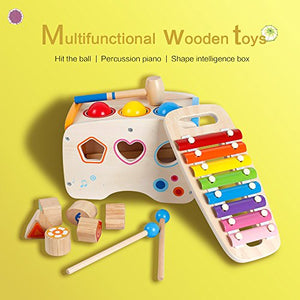 3 in 1 Wooden Educational Set Slide out Xylophone and Pounding Toys with Shape