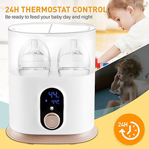 Baby Bottle Warmer Sterilizer Food Heater Smart Thermostat w/ LED & Time Display