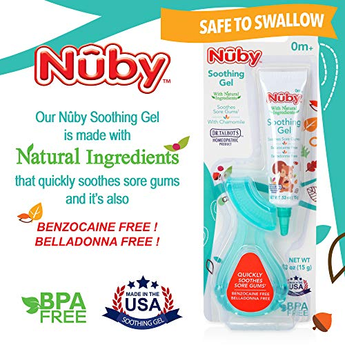 Nuby Natural Soothing Gel for Sore Gums with Bonus Gum-EEZ Teether Combo, 0.53 fl. oz, Benzocaine Free, Belladonna Free