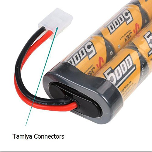 2 Pack 7.2v 5000mAh NiMh Rechargable RC Battery Packs for RC Cars,Electric Rc