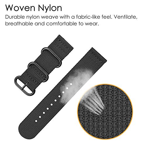 For Gear S3 Bands 22mm, Fintie Soft Woven Nylon Watch Band Adjustable Sport with