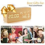 Alarm Clock,Wood Alarm Clock Voice Command Electric Time Bedside LED Travel Cube