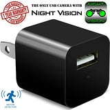 Night Vision Hidden Security Camera USB Wall Charger - Motion Detection Phone -