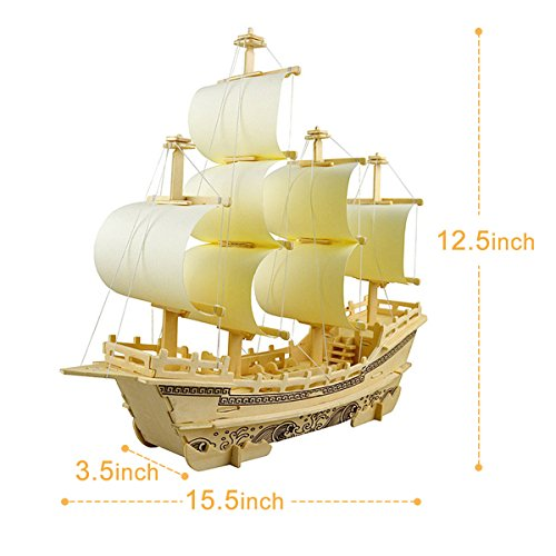 3D Wooden Puzzle Toy Mini Ship Boat Model, Great Gift Educational Build Jigsaw T
