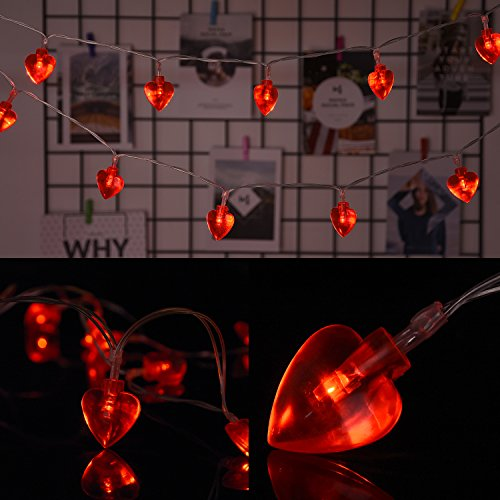 AOSTAR Valentine Lights 20 Heart Shaped String Lights 6.56 ft. Red, Battery for