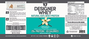 Designer Whey Premium Natural 100% Whey Protein, French Vanilla, 12 Ounce
