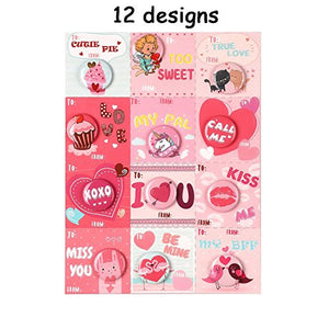 Funny Valentine's Day Cards with Buttons/Pins - Heart Kids Party Favors School