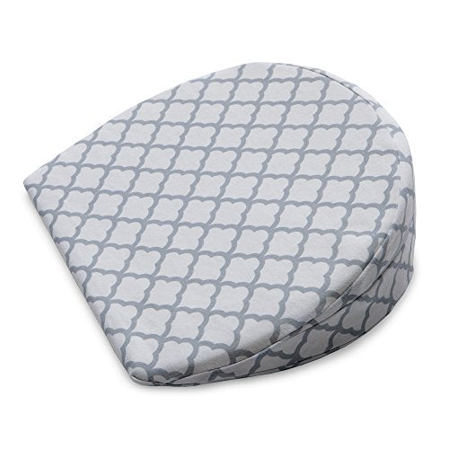 Boppy Pregnancy Wedge, Scallop Trellis Gray and White, Maternity Wedge with removable jersey cover