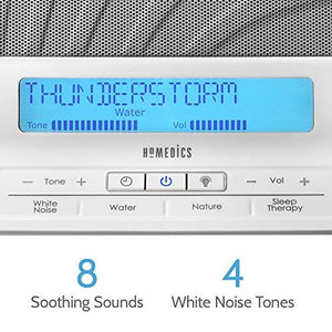 HoMedics Deep Sleep II Therapy Machine | White Noise Device, LCD Screen, Remote, Timer, Dimmer, Dual Speakers | 12 Soothing Nature Sounds, Masks Distractions, 8 Sleep Therapy Programs