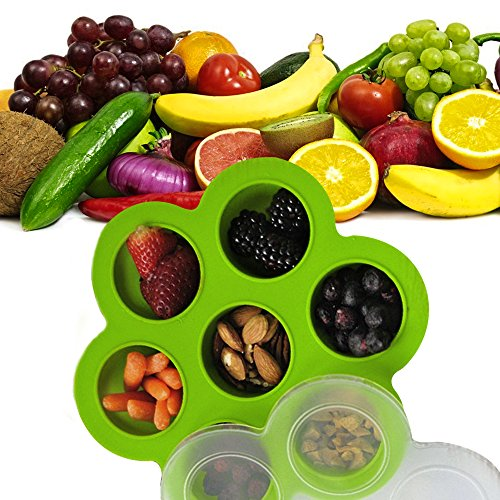Baby Food Storage Container Freezer Silicon Trays Reusable w/ Clip On Lid Purple