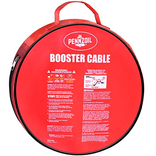 Pennzoil Jumper Cable 4 Gauge 25 Foot Heavy Duty Battery Booster with Travel Bag