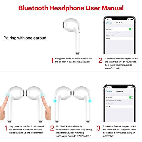 Wireless Earbuds,Amuoc Bluetooth Headphones Stereo Earphone Cordless Sport Heads