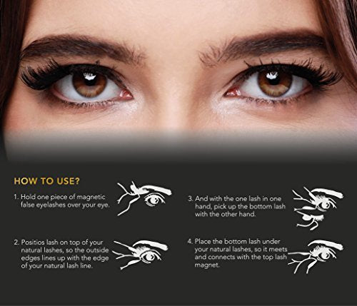 8 Pcs-Newest Long Dual Magnetic False Eyelashes for Natural Look 8 pieces, Cover
