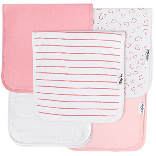 "5-Pack Baby Burp Cloths for Girls, 100% Organic Cotton, Large 21""x10"", Triple by"