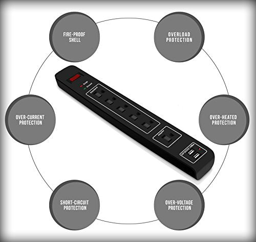 6-Outlet Surge Protector Power Strip with 2 USB Ports - 3 Foot Heavy Duty Extens