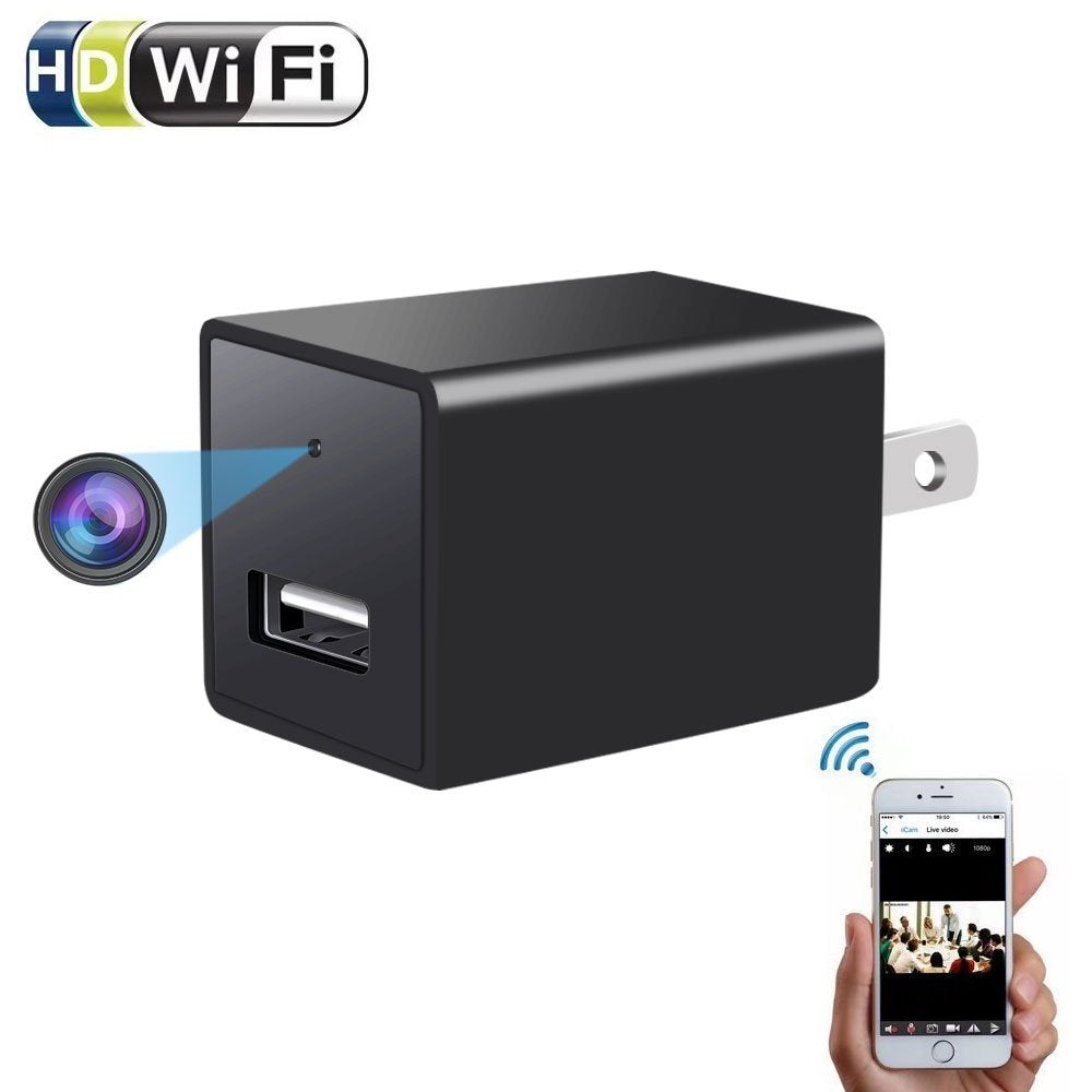 Wireless Mini WiFi Charger Camera 1080P for iOs & Android Phone App Remote View