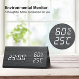 Digital Alarm Clock, Wooden LED Alarm Clock with Triple Alarms, 3 Levels Dimmer,